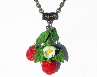 Necklace Raspberry handmade polymer clay  Jewelry red berry  Realistic sprig juicy raspberries  Pendant wild berries  Berry necklace  Gift