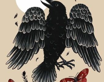 Raven Art Raven Art Raven Print Raven Illustration Fine Art Print Archival Print Whimsical Magical Surreal Eerie Bird Edgar Allan Poe Moth