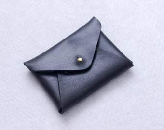 Envelope Wallet // Cash Card Coin Wallet // Leather Card Wallet // Leather Wallet // Black