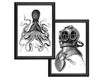 Octopus and Deep Sea Diver Nautical Vintage Style Print Set Black and White Grey Beach House Decor