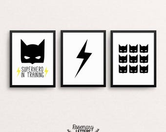 Batman, Batman Print, Batman Poster, Batman Wall Art, Superhero Print, Batman art, Batman decor, Superhero Wall Art, Set of 3