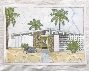 Art Print Palm Springs Stone House