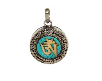 Turquoise Pendant Gau pendant hippie pendant Tibetan pendant Turquoise Necklace Nepal pendant boho pendant tribal pendant gypsy pendant M3