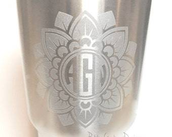 Personalized Gift for Women, Yeti Decal for Women, Mandala Monogram Decal,