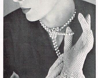 Vintage 50s Crochet Pattern - Women's Crocheted Lace Gloves - PDF Downloadable Pattern - 1950's retro