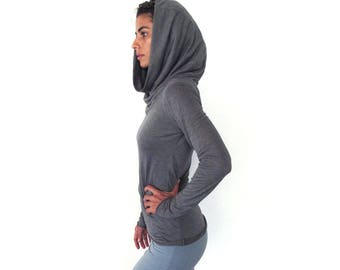 On sale 30%!! Cowl neck longsleeve top - hooded top - yoga top - dance wear - workout - athleisure - longsleeve yoga top - outdoor wear