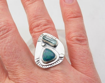 Raw Aquamarine and Shattucktite Ring Chrysocolla Ring Southwestern Jewelry Natural Stone Sterling Silver