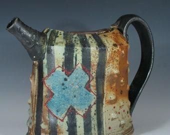 "Handmade Ceramic Blue ""X"" Pitcher"