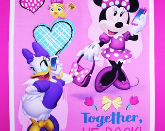 Disney Fabric Panel Daisy and Minnie Fabric Together We Rock From Springs Creative 100% Cotton