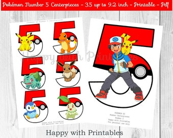 Pokemon GO Number 5 Centerpieces - Pokeballs Centerpieces - Pokemon GO - Pikachu - Pokemon Centerpieces - Pokemon party - Pokémon printable