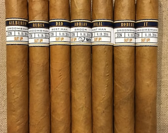 Groomsman Cigar Bands - Grooms Gift - Wedding Party and Groomsman Cigar Bands - Wedding Reception Cigar Bar - Cigar Station - 5 Bands