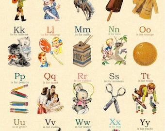 Vintage Retro A-Z ABC Alphabet Wall Poster