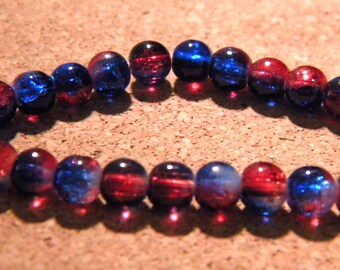 30 beads - 6 mm - 2 tone translucent Crackle Glass - blue and Red PF2 10