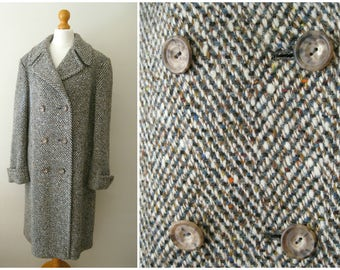 Couture Alison Coates Tweed 60s Vintage Coat Munrospun Pure New Wool Double Breasted M