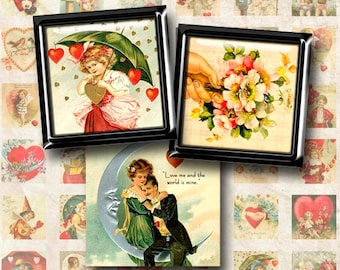 Digital Collage Sheet 1 inch Squares Vintage Valentines Instant Download 1S005