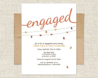 Fall Heart on a String Engagement Party Invitation