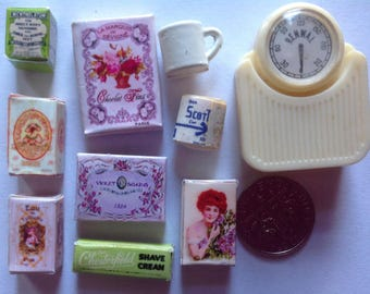 1:12 scale Dollhouse Miniature Bathroom cup scale soaps lot