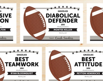Editable soccer award certificates instant download editable football award certificates instant download printable silver gray and black yelopaper Images