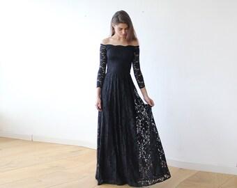 Black Maxi Dress, Off-the-shoulder Maxi Dress, Long Sleeve Maxi Dress, Black Floral Wedding Dress, Floral Lace Design Wedding Dress 1119