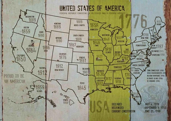 "Map of USA 1776-38. Canvas Print by Irena Orlov 24"" X 36"", large canvas art print, map canvas print, wall decor, office decor"