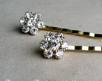 Gold Bridal Hairpins 2 pc, gold hairpin, wedding hair pin, hair accessory, bobby pin clear FLOWER RHINESTONE GOLD wholesale
