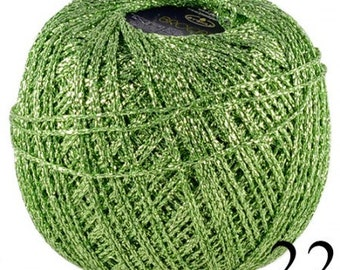 Green Metallic Yarn, Green Yarn, Metallic Yarn, Glitter Yarn, Green Metallic thread, Lurex Yarn, Sparkle Yarn, Green Yarn Bowl