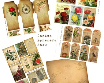 Digital Vintage Journal Ephemera Kit - In the Garden - Perfect for journals, cards, mixed media, scrapbooking (5 digital images)