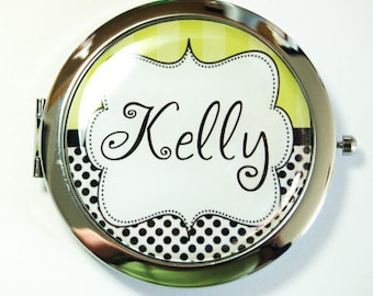 Custom compact mirror, personalized, compact mirror, bridesmaids gift, wedding party gift, polka dot, customize (2577)