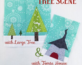 Tree Scene with Tomte House & with Large Tree Quilt Block // Foundational Paper Piecing // PDF // Instant Download // Nisse Gnome