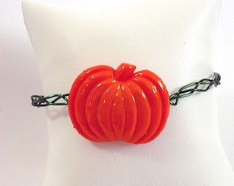 Green & Orange Pumpkin Bracelet - adjustable- FREE SHIPPING