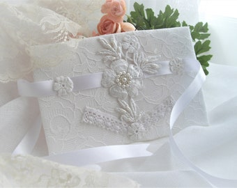 Wedding Bridal Bouquet Wrap Flower Holder Lace Or Unity Candle One Size Fits All White Lace Satin Pearls Designed by Marilyn handcraftusa