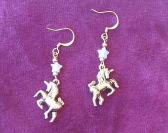 Gold UNICORN Semi-precious Aventurine STAR Dangle Drop Earrings