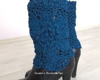 Best Selling Cuffs Crochet Cobalt Blue Boot Cuffs with Flower, Leg Warmers, Fall Winter Fashion Accessories