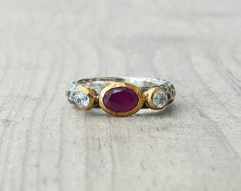 Ruby Ring, Ruby Engagement Ring, Silver and Gold Red Ruby and CZ Ring, Promise Ring, Statement Red Stone Ring, Ruby Jewelry July Birthstone