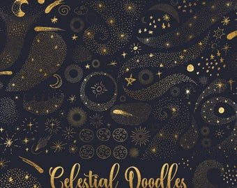 Celestial Doodles Clipart, digital hand drawn sketched moon and stars, night sky galaxy doodle stardust clip art png gold foil black & white