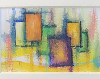 Winter Turns to Spring - Abstract 4 x 6 Matted to fit 8 x 10 Frame - Watercolor - Multi-Media - Pastel - Ink - Collectible Fine Art