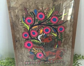 Vintage Rare Folk Art Tree Bark Painting Vibrant Colors Lion