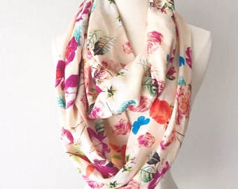Champagne Floral Print Rayon Infinity Scarf - Gift for her, Mothers Day, Birthday, anniversary, summer, spring