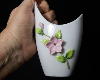 Small Lefton handpainted vase 50's era Reg U.S. Pat. off Lefton China small decoration white vase Pink flowers pale green leaves gold trim