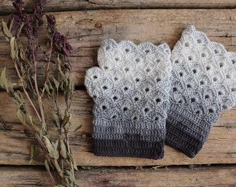 Gray Fingerless Gloves, Fingerless Crochet Gloves, Cotton Crochet Lace Gloves. Bride Lace, Gloves, Vintage Retro, Hand Warmers Women Gift