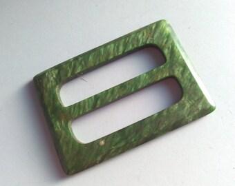 5.1 x 3.7cm, Vintage, pearlescent buckle,  buckle, art deco buckle, buckle, lucite buckle, belt buckle, vintage belt buckle, green buckle #2