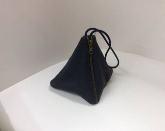 Small blue leather wrist bag carry money, credit cards,phone