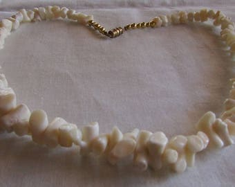 "18"" White Coral Necklace with Gold Tone Barrel Clasp"