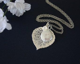 Small Silver Aspen Leaf Necklace Coin Pearl, Silver Leaf, Pearl Charm, Silver Necklace, Bridesmaid Gift, Aspen, Pearl