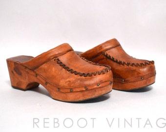 8 // Vintage Leather & Wood Swedish Clogs // 1970s