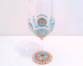 Moroccan Wine Glass Hand Painted Wine Glasses Wedding Wine