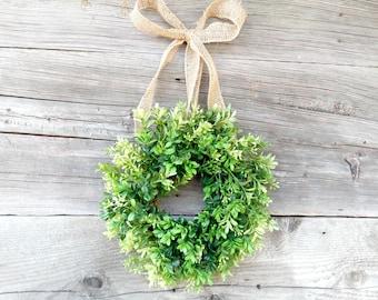 Mini Boxwood Wreath-Mini Window Wreath-Small Wreath-Country Cottage Wreath-Kitchen Decor-Artifical Boxwood Wreath-Wall Hanging-Gifts