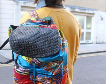 African Backpack - African Rucksack - Funky Rucksack - Tribal Bag - African Bag - Dashiki Bag - Mens Festival Bag- College Backpack
