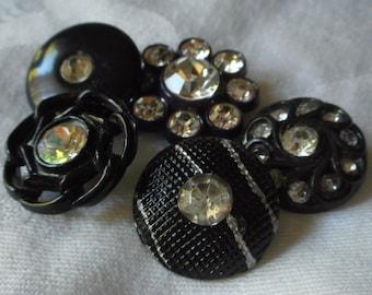 Lot of 5 VINTAGE Rhinestone Black Plastic BUTTONS