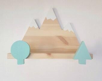 Wooden mountain shelf - scandinavian mountain shelf - handmade floating mountain shelf